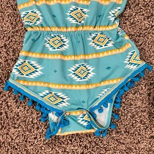 Bailey's Blossoms One Pieces - Aztec and pompom romper 6-12 months